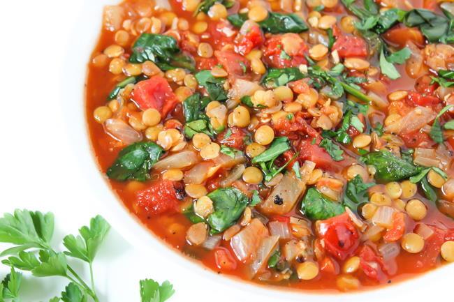 Tomato Lentil Soup in a bowl