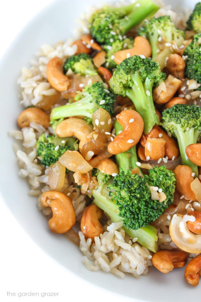 Cashew Broccoli Stir-Fry served with brown rice and sesame seeds