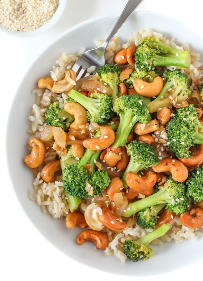 Broccoli Cashew Stir Fry in a bowl with brown rice
