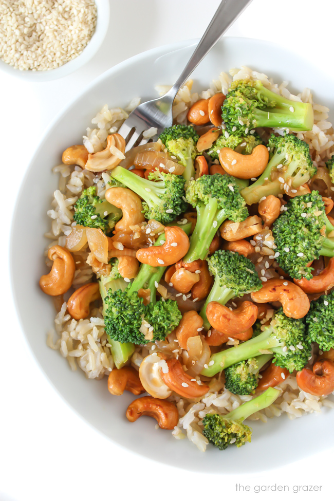 Cashew Broccoli Stir-Fry with brown rice