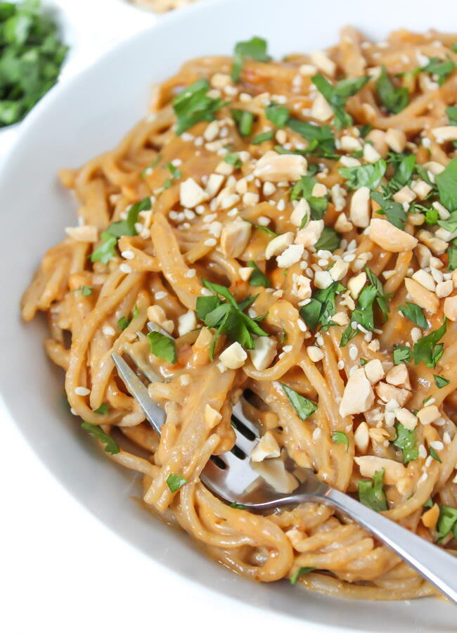 Creamy Thai-style Noodles with peanut butter sauce