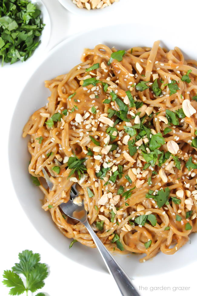 Peanut noodles in a white bowl with fresh cilantro and chopped peanuts on top