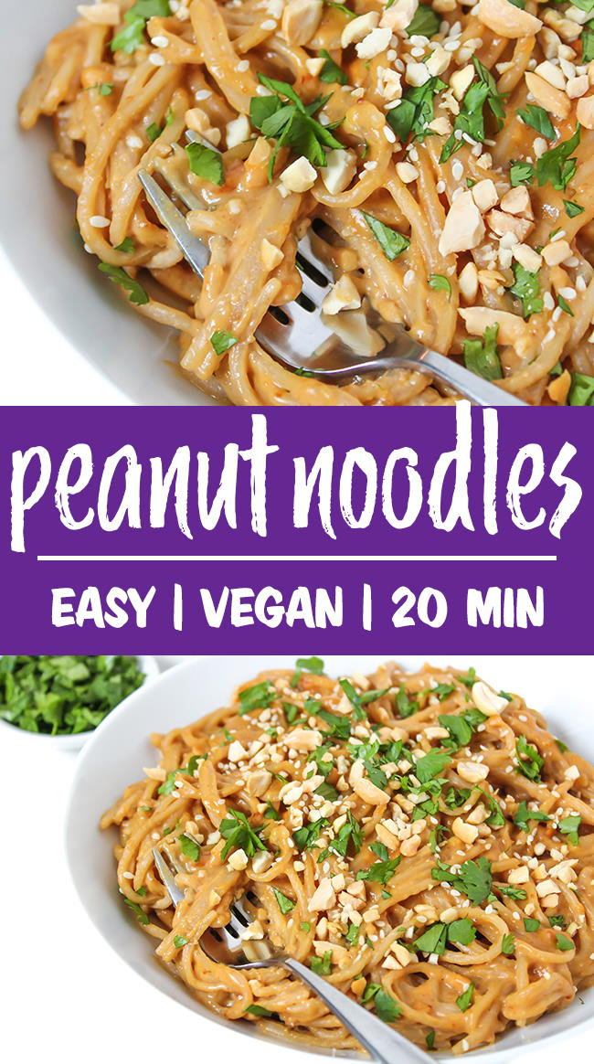 easy peanut noodles photo collage