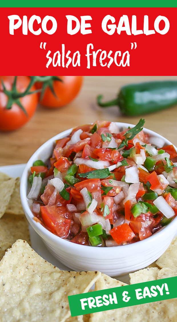 Fresh pico de gallo salsa in a bowl with chips