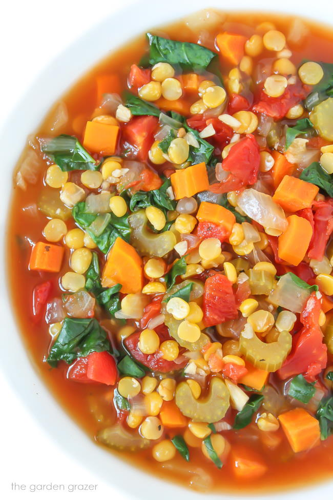 Close-up view of Vegan Split Pea Soup in a bowl