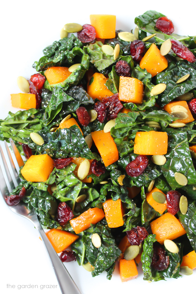 Butternut squash kale salad on a plate with fork