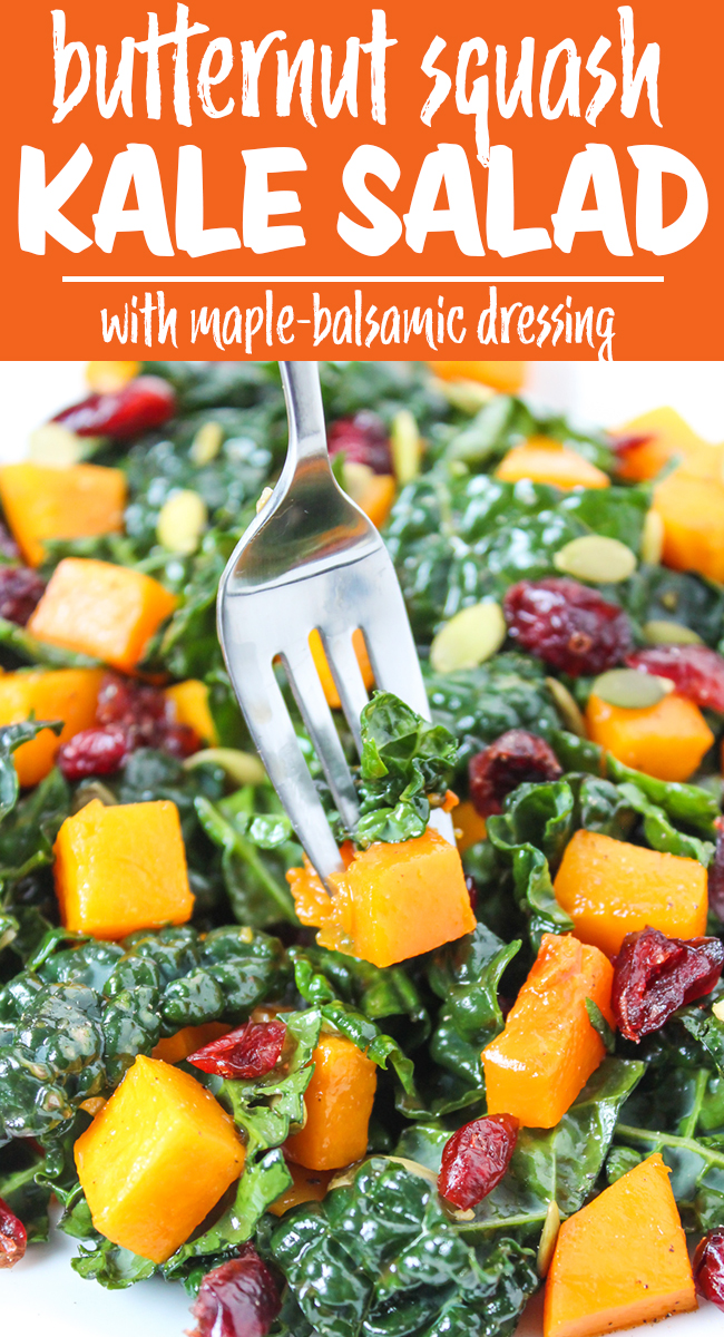 Butternut squash kale salad with cranberries and pepitas