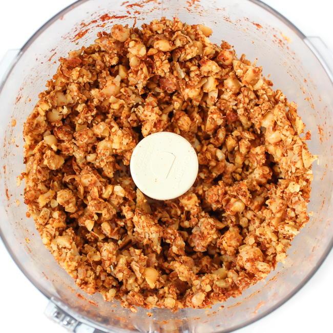 Vegan taco crumbles mixed in a food processor