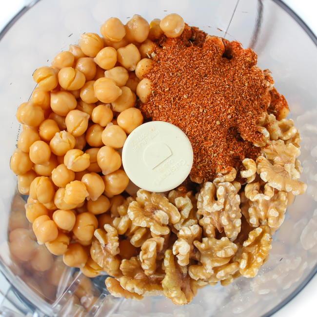 Chickpeas, walnuts, and taco seasoning in food processor