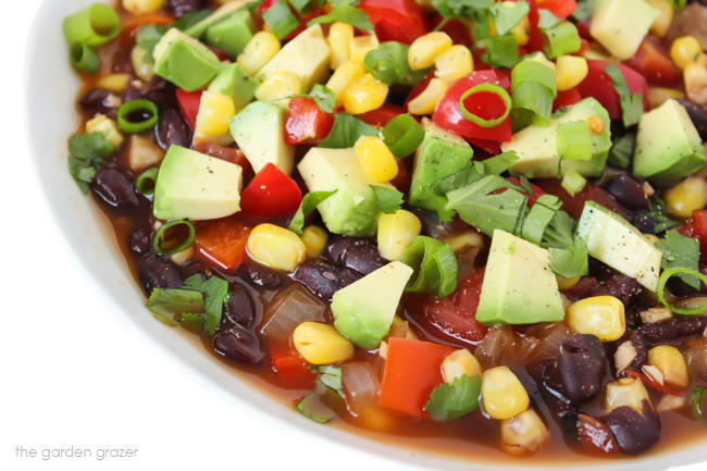 Close up view of southwestern black bean soup in a bowl