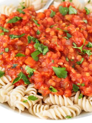 Vegan lentil Bolognese in a white bowl