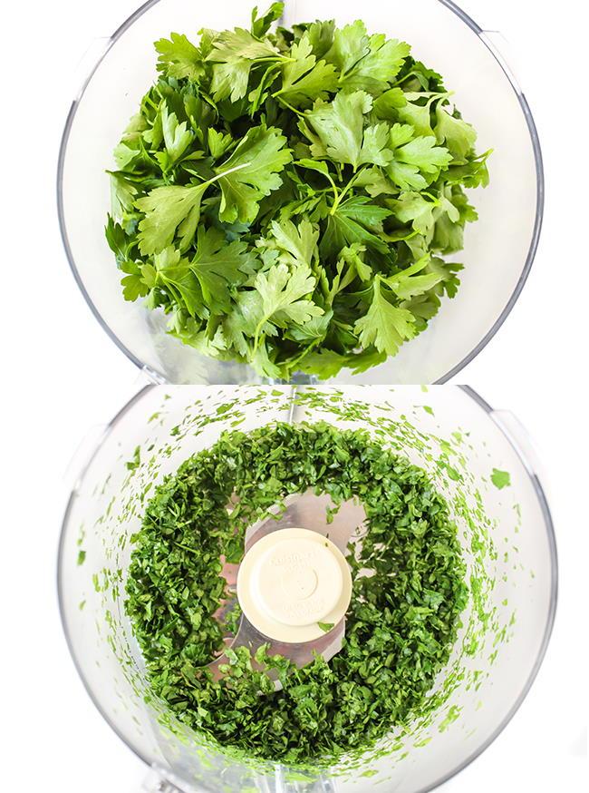 Fresh cilantro being chopped in a food processor