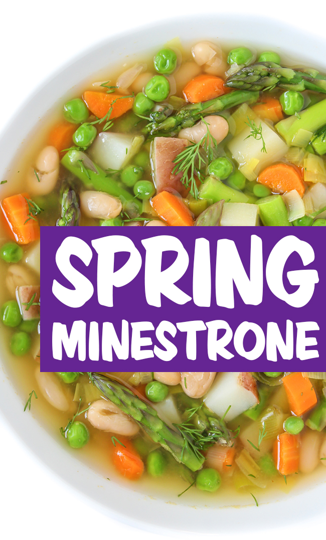Vegan spring minestrone soup with asparagus and potato