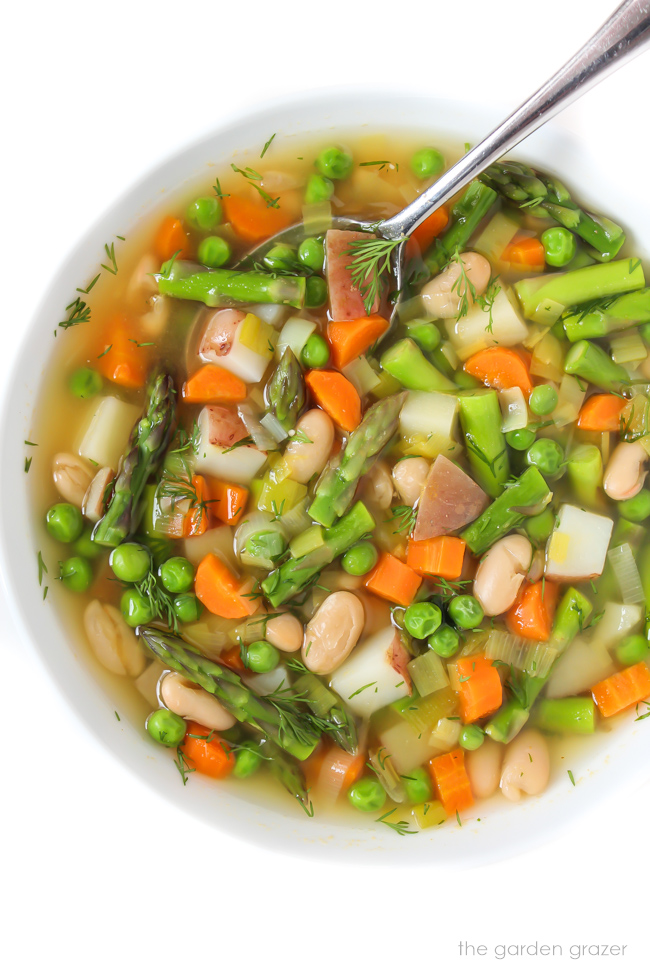 Bowl of spring minestrone soup with spoon