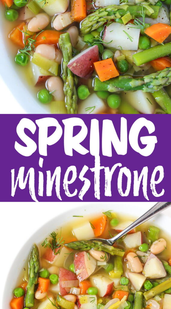 vegan spring minestrone photo collage