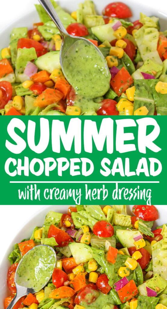 vegan summer chopped salad photo collage