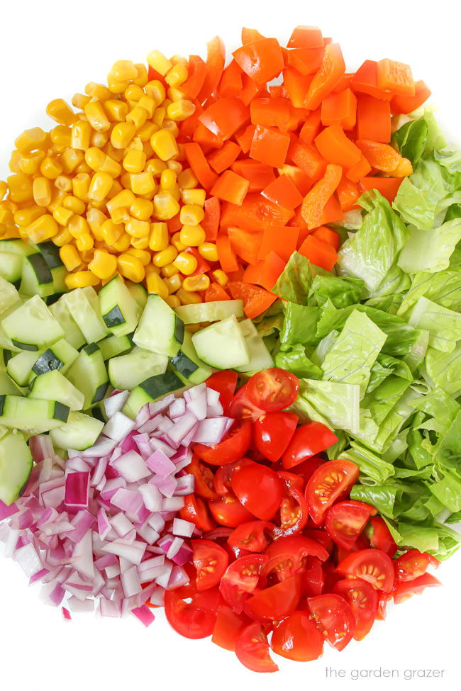 Chopped ingredients for summer salad in a bowl