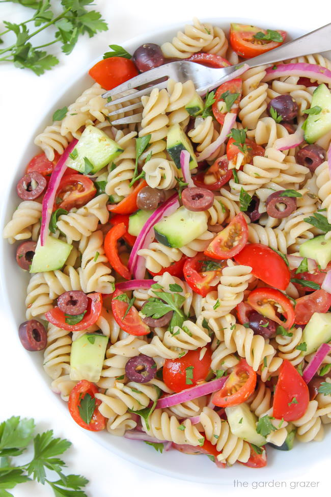 Vegan Italian Style Pasta Salad in a bowl with fork
