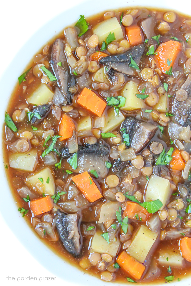 Bowl of vegan potato stew with mushrooms and lentils