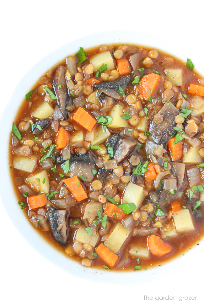 Vegan Potato Stew in a bowl with carrot, mushroom, and lentils