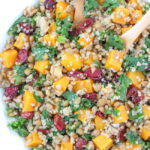 Lentil Quinoa Fall Salad with butternut squash and kale in a bowl