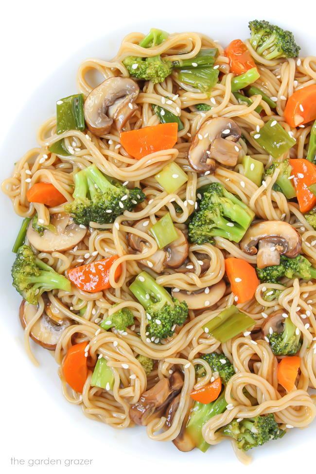 Plate of vegan teriyaki noodles with vegetables