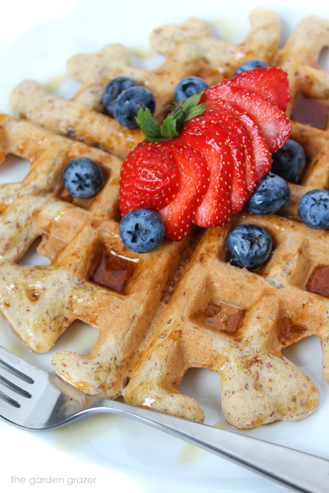 Vegan waffle on a plate with maple syrup and berries