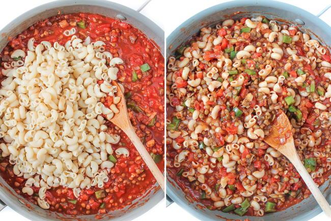 preparation of lentil goulash in hot skillet