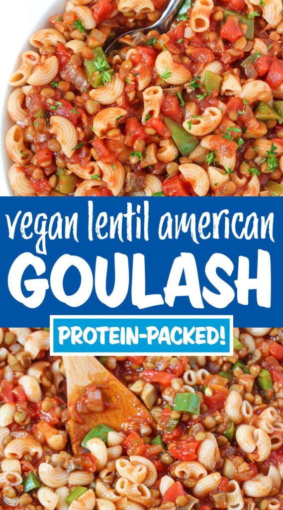 vegan lentil american goulash photo collage