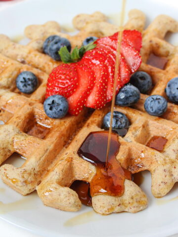 Vegan gluten free waffles with syrup