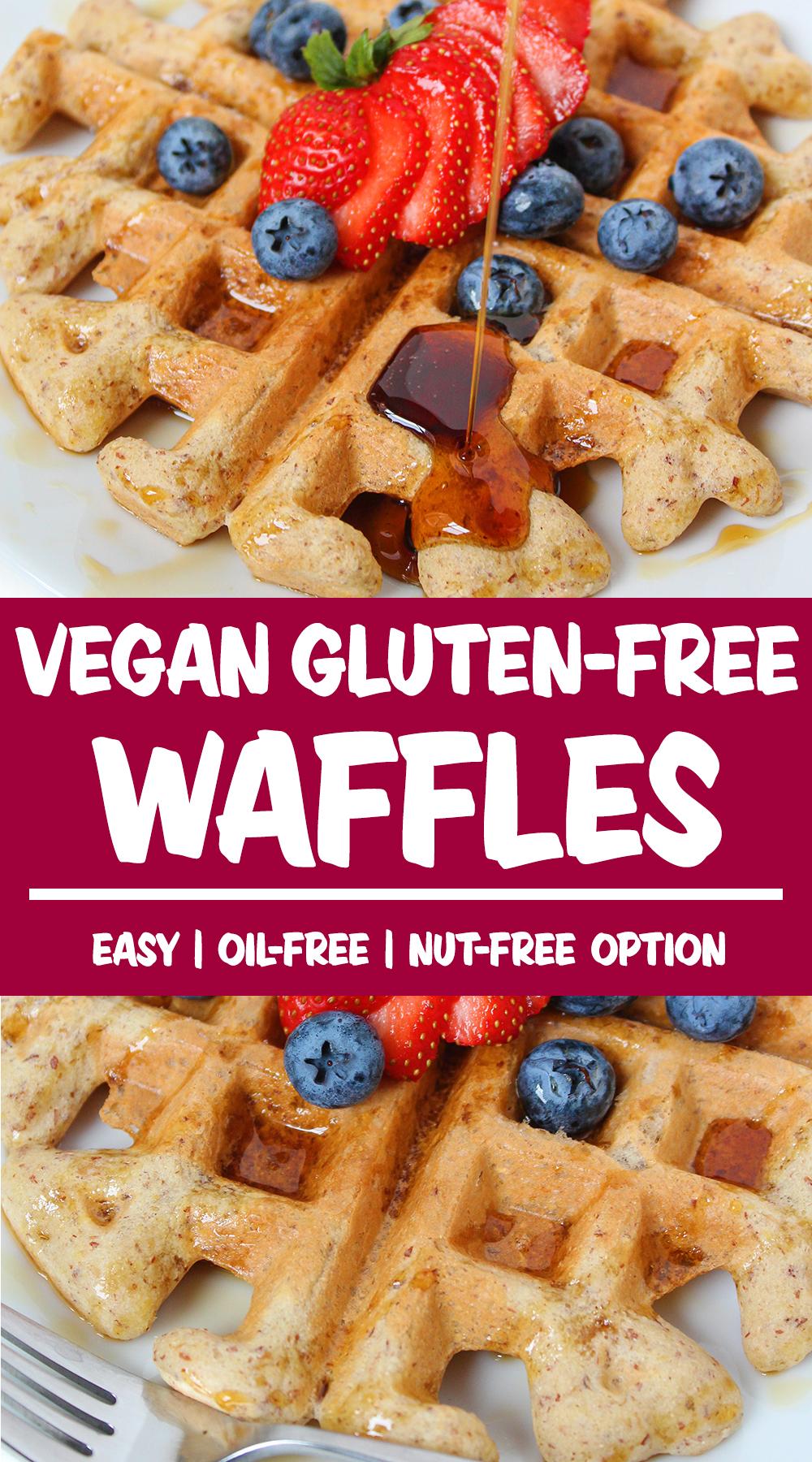 vegan waffles photo collage