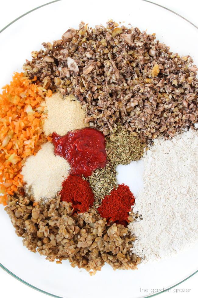 Ingredients for lentil walnut mushroom loaves in a bowl