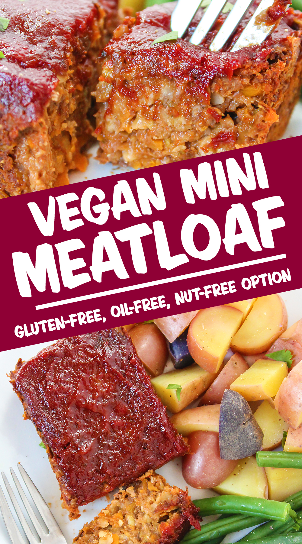 vegan mini meatloaf photo collage