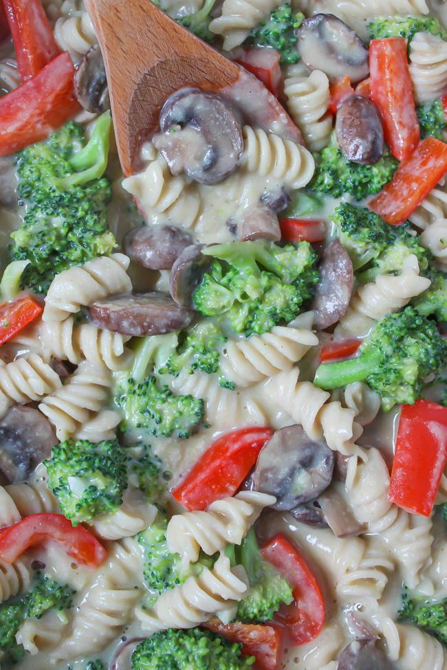 Creamy garlic pasta in a skillet