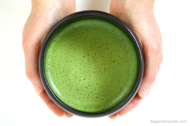 Hands holding a warm bowl of frothy, whisked matcha green tea