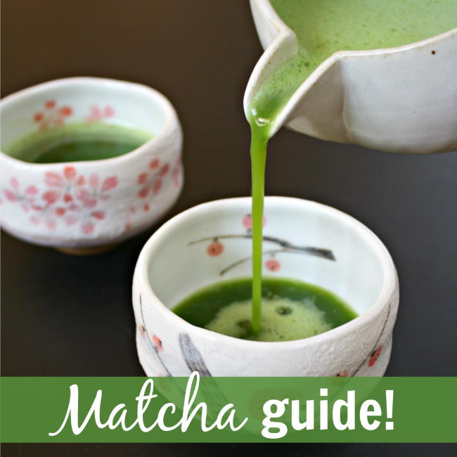 Pouring hot whisked matcha tea in a small tea cup