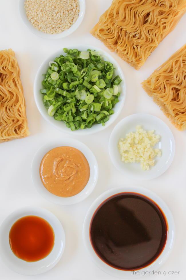 Ingredients for hoisin peanut noodles