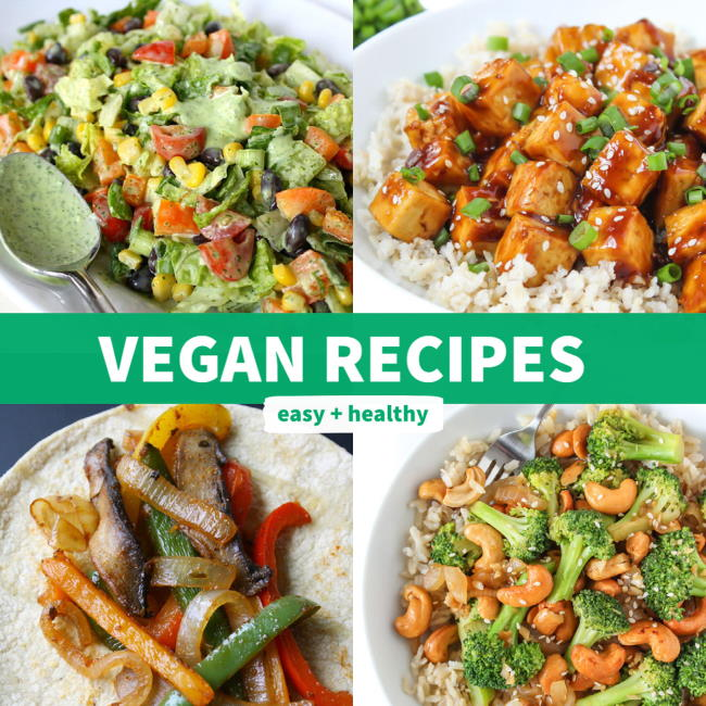 Vegan recipes in a photo collage
